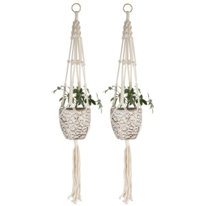 2PCS/Lot Macrame Plant Hanger Indoor Outdoor Flower Pot Plant Holder Hanging Planter Basket