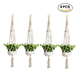 4PCS/Lot Macrame Plant Hanger Outdoor Indoor Flower Pot Plant Holder Hanging Planter Basket
