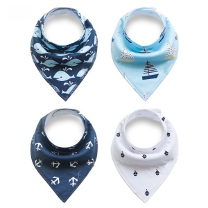 4PCS/Set Fashion Baby Drool Bibs Organic Cotton Super Absorbent Baby Bibs - Style G