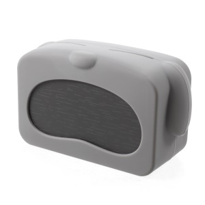 LJA-002 Lovely Grey Dog Shaped LED Ultra-quiet Sound Control Alarm Clock with Temperature Dispaly