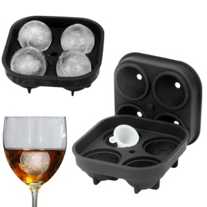 Football Shape 4 Compartments Mold Ice Tray Shape 3D Ice Cube Mold Silicone Maker Tray