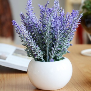 2PCS/Pack Artificial Flowers Flocked Plastic Lavender Bundle Plants Wedding Bridle Bouquet Indoor Outdoor Home Decoration