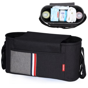 INSULAR Multi-functional Large Capacity Mummy Maternity Nappy Stroller Carrying Bag - Black