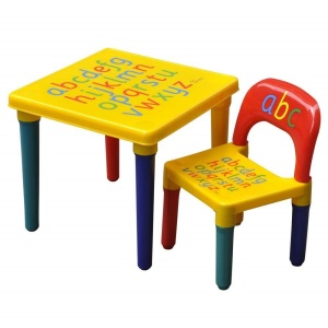 Kids Children Furniture Alphabet Learn & Play ABC Table + Chair Set