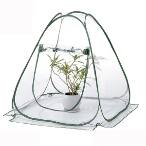 Foldable PVC Pop-up Greenhouse Cover with Army Green Frame for Indoor Outdoor Plant