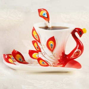 Creative Peacock Theme Porcelain Tea Cup Beautiful Ceramic Mug Three Pieces - Red