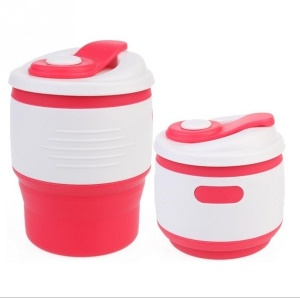 Silicone Collapsible Coffee Cup with Leak-proof Lid for Camping Hiking - Rose