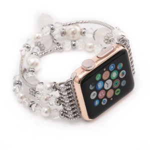 Women's Handmade Elastic Stretch Pearl Natural Stone Bracelet for Apple Watch Series 3 Series 2 Series 1 38mm - White