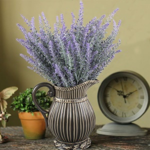4Pcs Artificial Flocked Lavender Bouquet Bridal Home DIY Floor Garden Office Wedding Decor