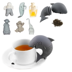 7 Pcs Cute Food-grade Silicone Tea Strainer Tea Infuser (Man, Monkey, Sea Lions, Elephant, Shark, Dog, Sloth)