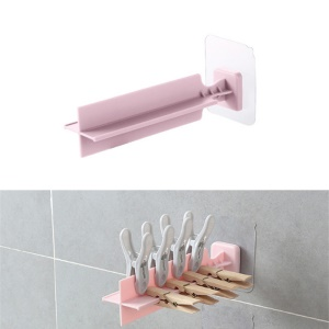 Wall Sticky Clothespin Clip Holder Rack - Pink