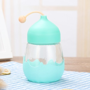 310ml Glass Water Bottle with High Temperature Resistance Silicone Cover - Blue