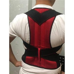Fully Adjustable Back Brace Posture Corrector for Men and Women - Red / Size: XL