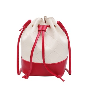 Women Drawstring Bucket Bag Crossbody Single Shoulder Bag - Red