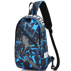 Men Chest Bag Oxford Shoulder Strap Bag Casual Sports Backpack Messenger Bag - Inclined Zipper / Blue Gray Graffiti