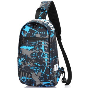 Horizontal Zipper / Blue Gray Graffiti