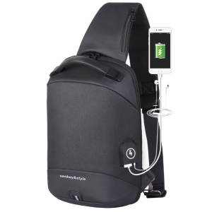 Crossbody Bag Shoulder Bag Chest Bag with USB Charger Port and Headphone Hole for Men - All Black