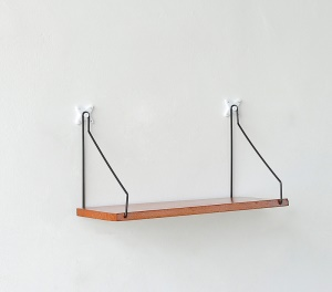 Wood Wall Holder Rack Wall Shelf Partition Kitchen Wall Frame Hanging - Yellow / Size: L