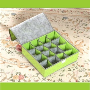 16 Grids Household Underwear Bras Socks Storage Box Drawer Closet Organizer Space Saver Bags - Green