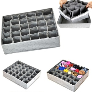 30 Grid Foldable Underwear Bras Socks Storage Box Drawer Closet Organizer Space Saver Bags