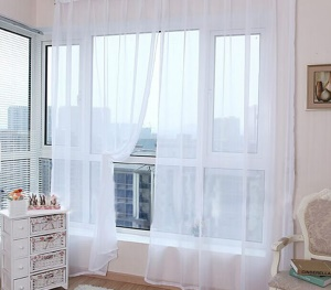 2 Panels/Set Soild Color Sheer Curtains Window Curtain, Size: 39*79 inches - White