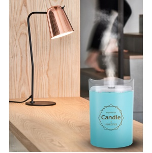 USB Ultrasonic Humidifier Air Purifier Essential Oil Diffuser Candle Light - Blue