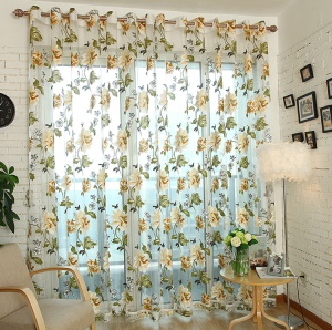 1x2m Peony Flower Curtain Blackout Window Tulle Drape Sheer for Bedroom Living Room  - Beige