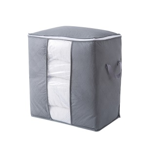 Non-woven Cotton Quilt Clothing Home House Large Storage Bag - Grey/Vertical