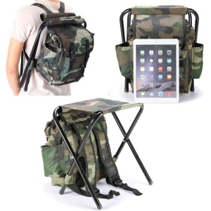 2-in-1 Foldable Backpack and Small Seat for Camping, Hiking, Backpacking