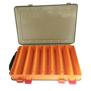 Double-sided 14 Grids Fishing Lure Box PP Storage Tackle Box - Orange