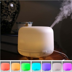 500mL LED Ultrasonic Humidifier Aroma Essential Oil Diffuser 12W with 2 Modes - 7-color / US Plug