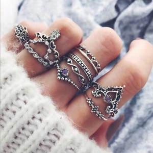 10Pcs/Set Vintage Crystal Alloy Carved Finger Ring Set Jewelry Set for Women