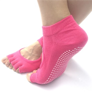Non Slip Yoga Socks for Women Toeless Pilates Ballet Workout Socks - Pink