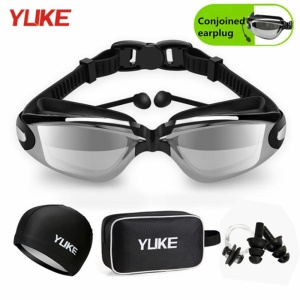 Adult Waterproof Anti-Fog UV Shield Swim Glasses Swimming Goggles Cap Set - Black