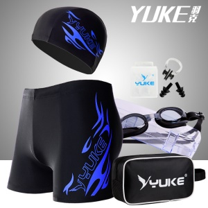 YUKE Men's Jammer Swimsuit Shorts + Swim Goggles + Swimwear Cap + Nose Clip + Ear Plugs Swimming Bag Set - Blue / Size: 4XL