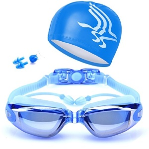 Anti Fog Waterproof Mirrored & Clear UV400 Protection Plated Swimming Goggles with Cap etc. - Blue