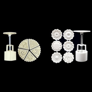 Two Sets Mooncake Maker Mold Homemade Mooncake Kitchen DIY Tool - Triangle and Flower Shape