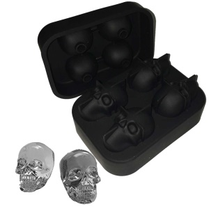 3D Skull Silicone Ice Cube Tray Mold Ice Cube Maker em formas para Whisky Ice and Cocktails - negro