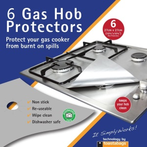 6PCS Non Stick Heat Resistant Gas Stove Burner Covers Protectors