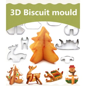 8 Pcs 3D Food-grade Christmas Cookie Cutter Set Stainless Steel Cookie Biscuit Mould Decoration