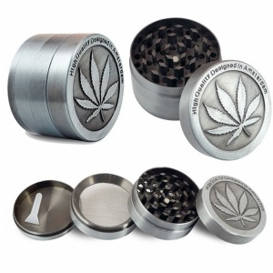 Leaf Pattern 4cm 4-layer Metal Herb Grinder with Pollen Catcher