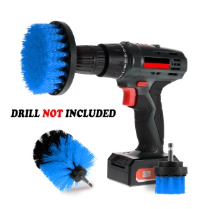 3Pcs/Set High-strength Nylon Bristles Brush Heads for Cordless / Corded Power Drills and Drivers - Blue