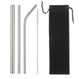 3Pcs Stainless Steel Reusable Drinking Straws + 1 Cleaning Brush Kit - Silver