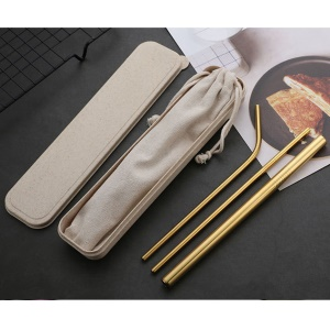 3Pcs Stainless Steel Reusable Drinking Straws + 1 Cleaning Brush Kit - Gold