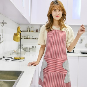 Adjustable Apro with Convenient Pocket Fashion Stripe Apron - Pink