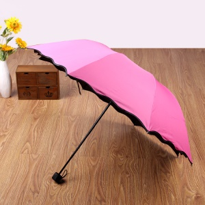 Travel Umbrella Compact Windproof Waterproof Umbrella with UV Protection - Rose