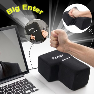 Big Enter Key Throw Pillows with USB Port Office Stress Relief Vent Toy Noon Break Doll - Black