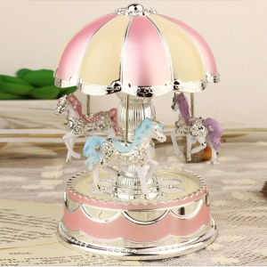 3-horse Carousel Music Box with LED Flash Lights for Christmas Birthday Present - Pink