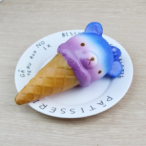 Adorable Cartoon Bear Head Ice Cream Fidget Squeeze Pinch Toy Home Decoration