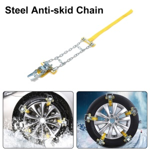 Anti-slip Car Snow Tire Chain Thickened Beef Tendon Auto Wheel Steel Chain - Size: M (Tire Width: 205-225mm)